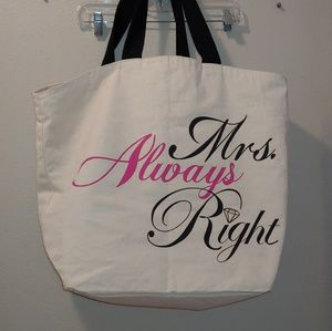 Always Mrs. Right Bride Wedding Tote Canvas